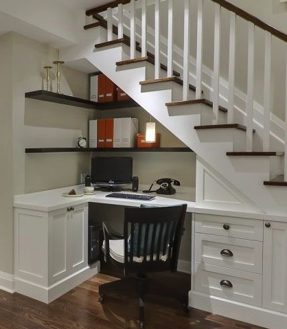 tiny office under the stairs