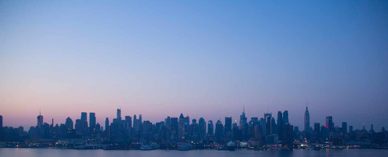 Sunrise over Manhattan, view from Weehawken, New Jersey