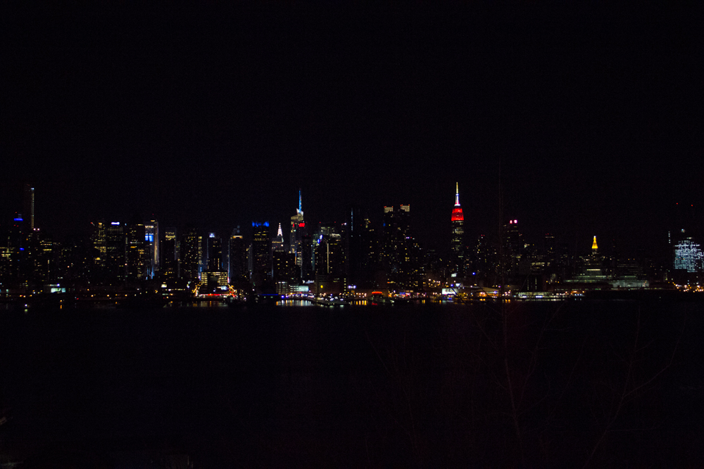 I took this photo from the waterfront in Weehawken, New Jersey in April 2015.