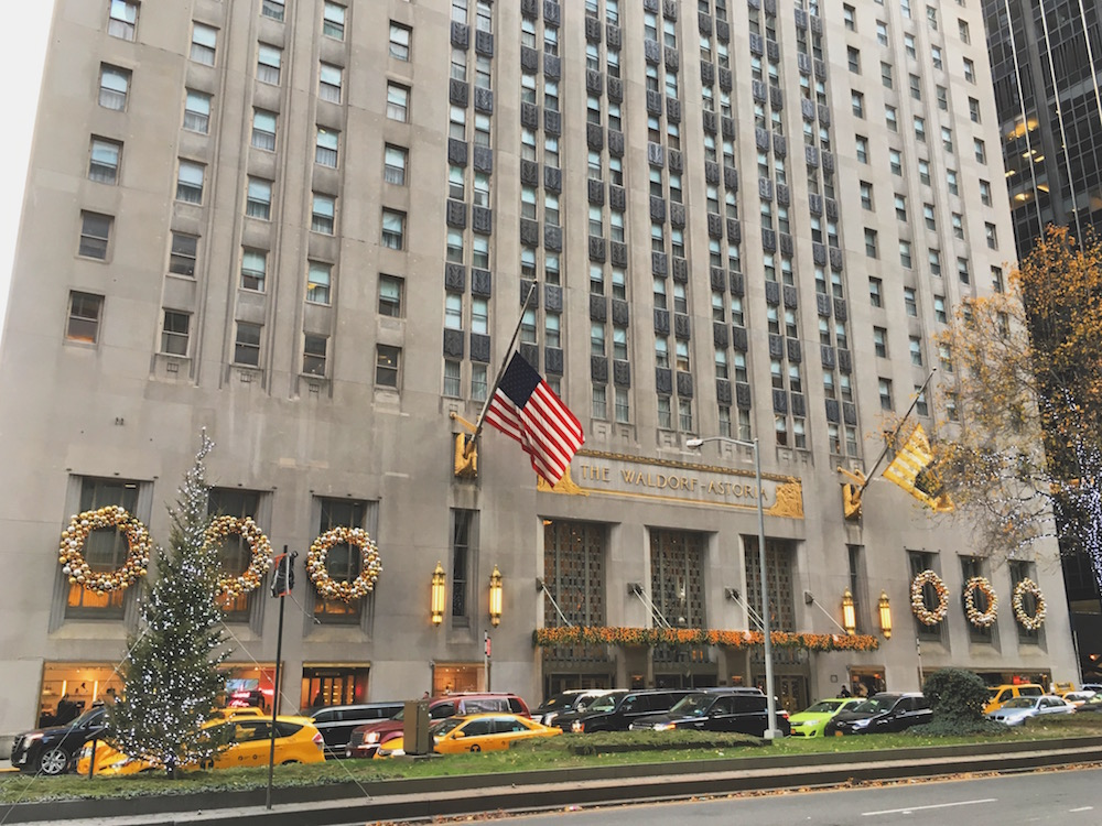 The Waldorf Astoria at Christmas in NYC